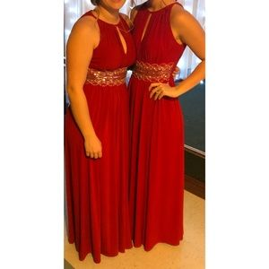Red bridesmaid dress (on the right)